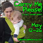Carry Me Please button Carry Me Please!   Baby Wearing Giveaway   FREE Blogger Sign Ups