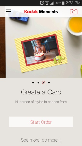 Pick what you want to do... create a card, connect to kiosk, order prints, or create a gift