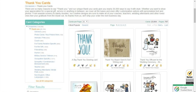 Thank you cards from Greeting Cards Universe