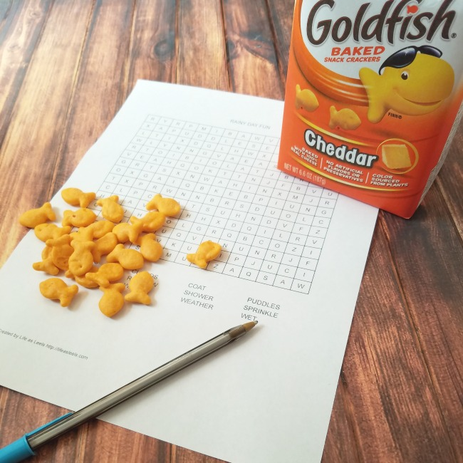 Rainy day fun with Goldfish and a free printable word find!